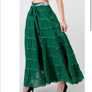Sequins Belted Tiered Gypsy Boho Maxi  Skirt